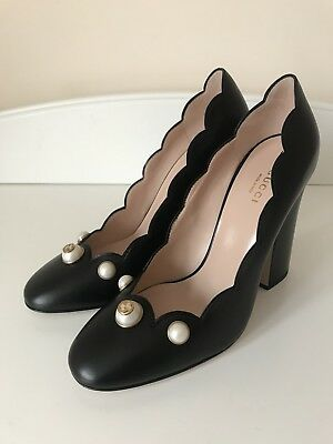 9a41e275221 Gucci Willow Pearl embellished black heeled leather pumps Princetown 39  Marmont