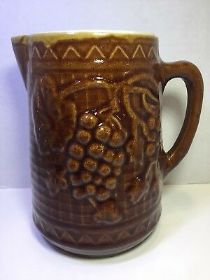 """Vintage antique crock stoneware pitcher brown with grapes, 8"""", small cracks"""