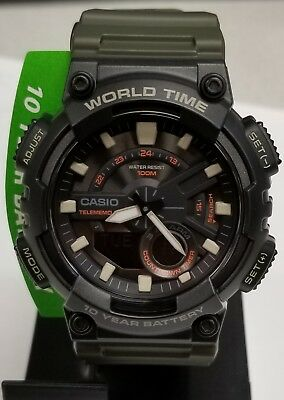 Casio Men's AEQ-110W-3AV Ana/Digi Youth Series Telememo Resin 47mm Watch