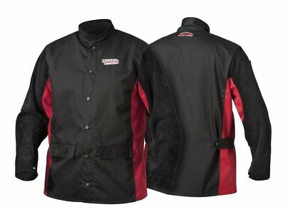 Lincoln Electric K2986-L Shadow Split Leather Sleeved Jacket, Large, Black/Red