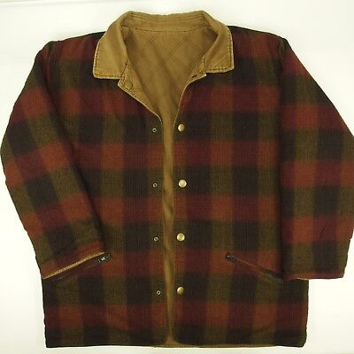 Vntg Mens EDDIE BAUER Reversible Wool-Blend Insulated XL Snap Front Plaid Coat