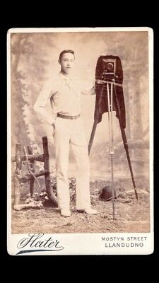 RARE Unusual Antique Victorian Cabinet Card Photo Photographer W/ Camera Whales