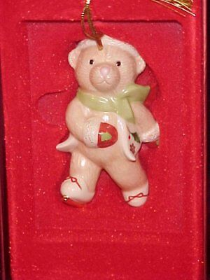 LENOX Porcelain China Skatetime TEDDY BEAR Christmas Ornament ~NEW!