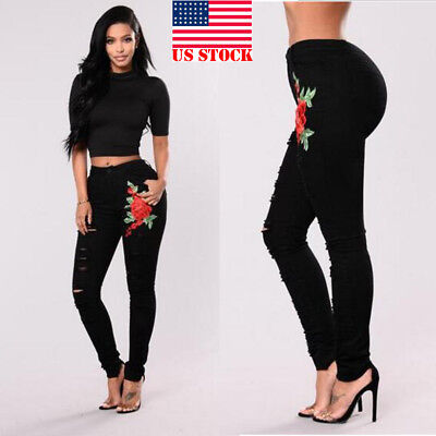 Women's Pencil Stretch Embroidery Denim Skinny Jeans Pants High Waist Trousers