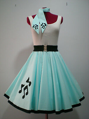"GIRLS/ADULTS ROCK N ROLL/ROCKABILLY ""Music Notes"" SKIRT-SCARF S-M Pastel Blue"