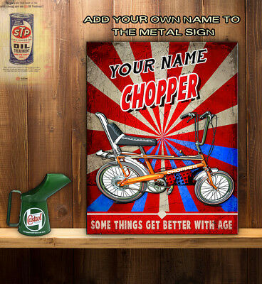 PERSONALISED RALEIGH CHOPPER BIKE 70S ICON Retro Vintage Metal Wall Sign  RT04