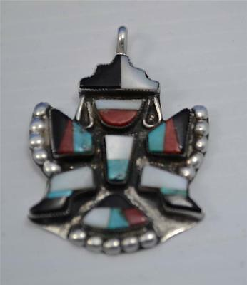 super America Zuni silver rainbow knife wing  pendant bright turquoise mop coral