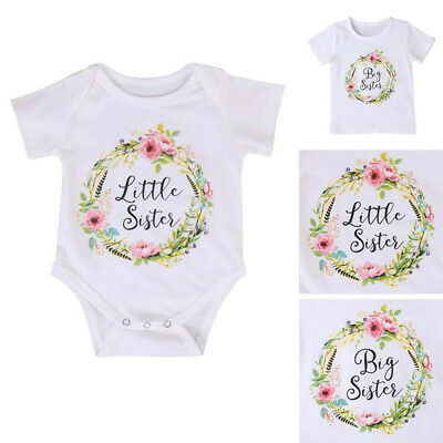 Baby Kids Girl Little Big Sister Matching Clothes Romper Outfits T Shirt