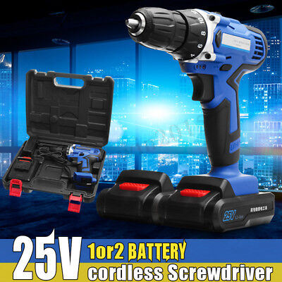 100-240V AC Rechargeable Cordless Drill 25V Battery Electric Hammer Screwdriver
