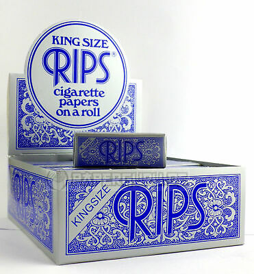 5 Boxen (120x) RIPS Blau Extra Breite Classic King Size Rolls Blue 5 Meter
