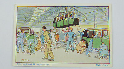 1930s HM Brock French Language Postcard Vintage Motor Car Factory Assembly Line