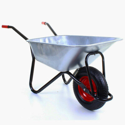 100L Heavy Duty Galvanised Wheelbarrow Puncture Proof/inflatable Wheels Black