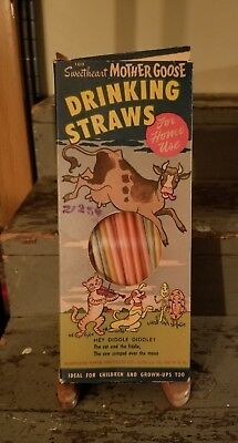 Vintage 1950s Mother goose drinking straws cow jumped over the moon
