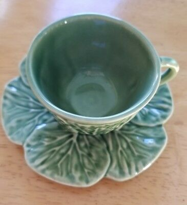 Bordallo Pinheiro Portugal Green Cabbage Leaf Demitasse Cup & Saucer EUC Easter