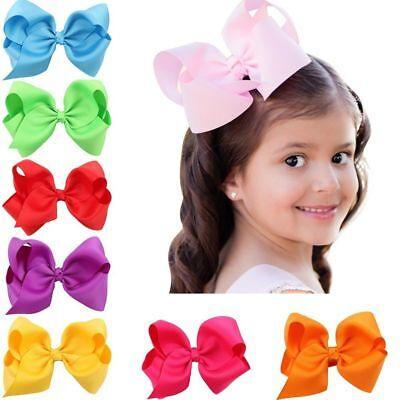 20-100 Pcs Baby Girls Huge Grosgrain Ribbon Boutique Hair Bows Kids Hair Clip US