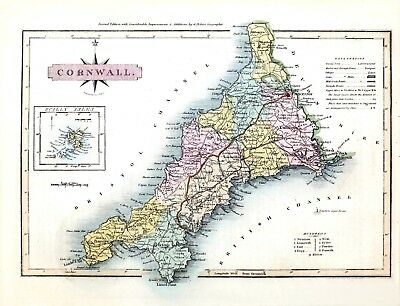 Reproduction vintage/antique map of Cornwall 1819 ....A2 A3 A4 Sizes