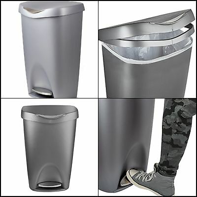 Nickel Stainless Steel Can Kitchen Trash With Lid Step Free Touch Bin 13 Gallon