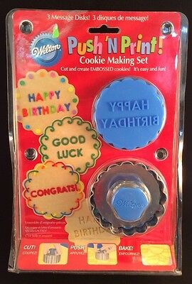 Wilton Push N Print COOKIE CUTTER EMBOSSER SET Birthday Good Luck Congrats