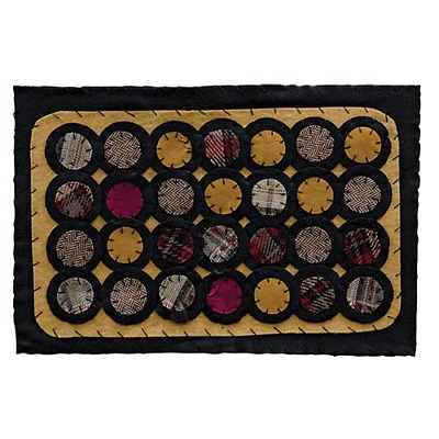 """New Primitive Country Black Mustard Red PENNY STITCHED CANDLE MAT Doily 17"""""""
