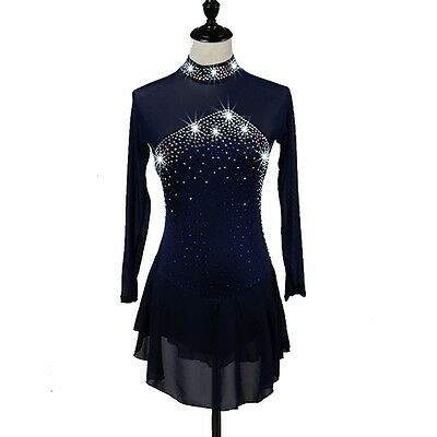 New woman figure skater clothing girl skating competition dress long sleeves