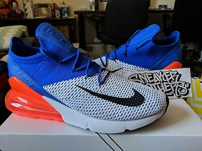 Nike Air Max 270 Flyknit White Black Racer Blue Total Crimson Orange AO1023- 101 f01ba3717