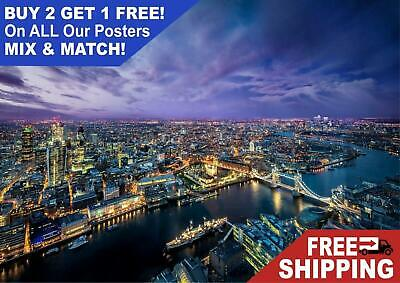 London At Night Skyline Landscape Giant Poster - A5 A4 A3 A2 A1 HUGE Sizes