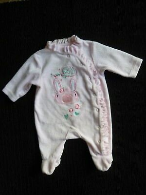 Baby clothes GIRL premature/tiny<7.5lbs/3.4kg NEW pink velour babygrow SEE SHOP