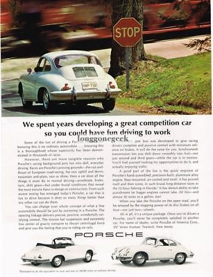 1965 Porsche White 356 Drive it to workVtg Print Ad