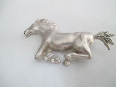 Horse Pin..Galloping ..STERLING SILVER..Solid/Sturdy..Classic Look.New.Taxco