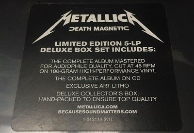 Metallica - DEATH MAGNETIC - BoxSet 5 Vinyl LP Deluxe Ed, 180Gr -MINT sealed new