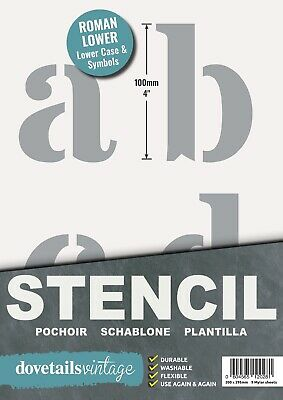 "VERY LARGE STENCIL LETTERS SYMBOLS 100mm tall (4"") 9 x Sheets ROMAN LOWER CASE"