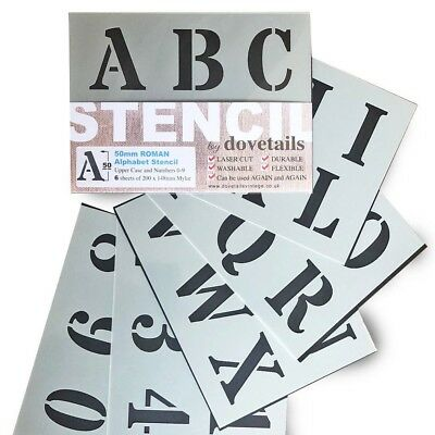 "LETTERING STENCIL BIG ALPHABET NUMBERS 50mm tall 1.96"" 6X sheets ROMAN CAPITALS"