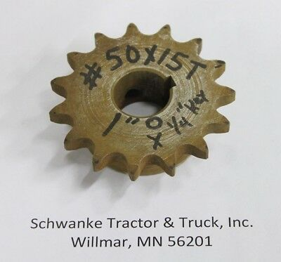 """#50 x 15 tooth roller chain sprocket, 1"""" OD shaft"""