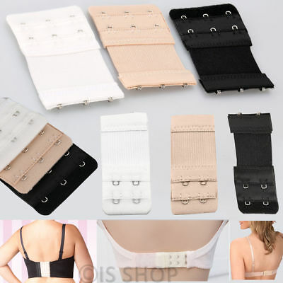 3 or 2 Hook Bra Extender Elastic Extension Back Clip Strap Clasp Buckle