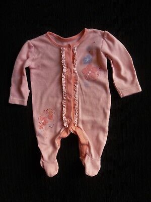 Baby clothes GIRL newborn 0-1m peach-pink/mauve floral applique/stripes babygrow
