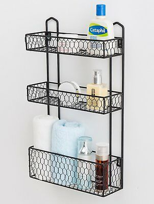 TWO-TIER CHICKEN WIRE Basket Stand Bathroom Kitchen Dorm Organizer ...