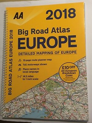"2018 Aa Big Road Atlas Of Europe Large European Driving Map 1"" : 14.2 Brand New"