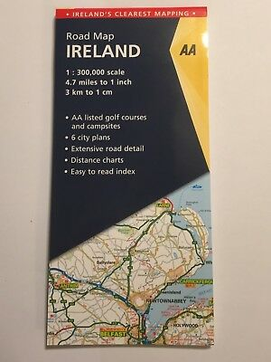 "LARGE FOLD-OUT ROAD MAP OF IRELAND ATLAS 1:300000 1cm:3Km 1"":4.7m SCALE NEW"