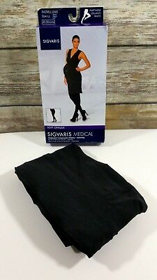 New Womens Large Long Maternity SIGVARIS Soft Opaque Compression Black Pantyhose