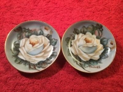 Beautiful Antique Hand Painted Signed German Porcelain Butter Pats c.1930-1947