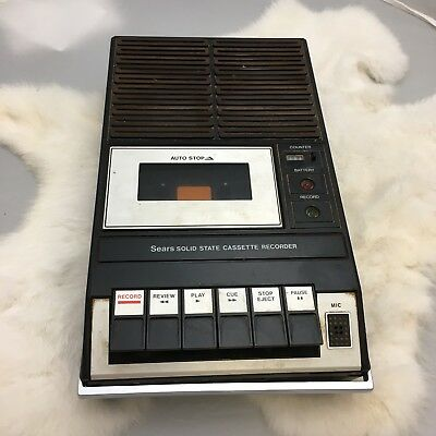 VINTAGE SEARS ROEBUCK Co SOLID STATE PORTABLE CASSETTE TAPE PLAYER RECORDER