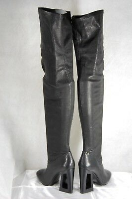 fcb27adf881 Vic Mate Made In Italy Black Leather Stretch Over The Knee Boots Eu 40 Us 10