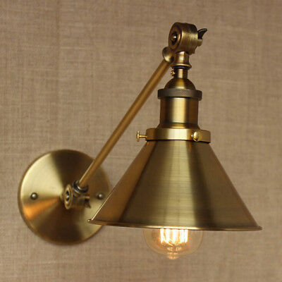 Brass Vintage Industrial Wall Light Sconce Swing Arm Adjustable Fixture Lamp