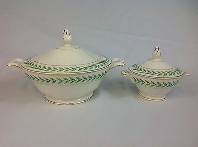Edwin Knowles Green Laurel Leaf Sugar Bowl and Covered Casserole Dish with Lid