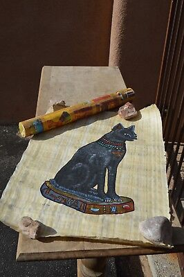 Hand painted Egyptian Black Cat on Papyrus with Hieroglyphic Symbols