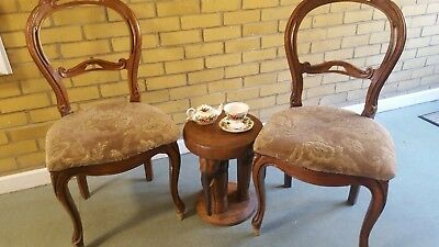 3  attractive keyhole chairs reproduction taperstry beige and pink will split