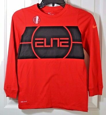 Nwt Boys Kids Nike Dri Fit Cotton Elite Red Long Sleeve Basketball T Shirt S-Xl