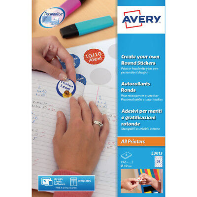 Avery White Create Your Own Round Stickers 40mm diameter (Pack of 192) E3613