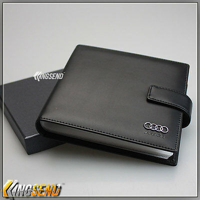 AUDI Leather CD Case Wallet Car DVD Holder Discs Organizer Storage Carry Cover