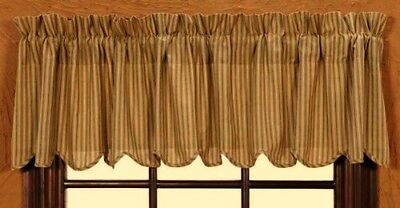 New Primitive Country SAGE GREEN TICKING Striped Scalloped Valance Curtains
